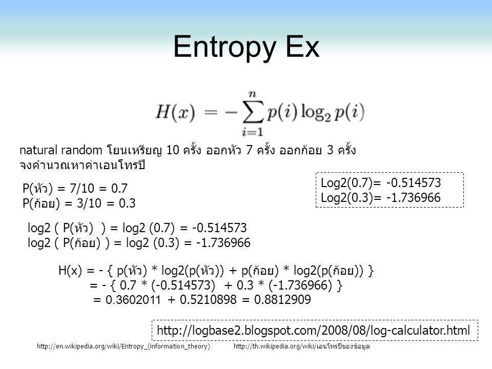 Entropy Ex natural random โยนเหรียญ 10 ครั้ง ออกหัว 7 ครั้ง ออกก้อย 3 ครั้ง. จงคำนวณหาค่าเอนโทรปี Log2(0.7)= -0.514573.
