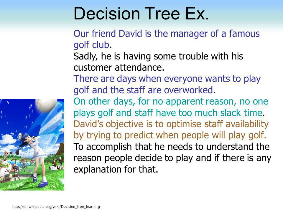 Decision Tree Ex. Our friend David is the manager of a famous golf club. Sadly, he is having some trouble with his customer attendance.