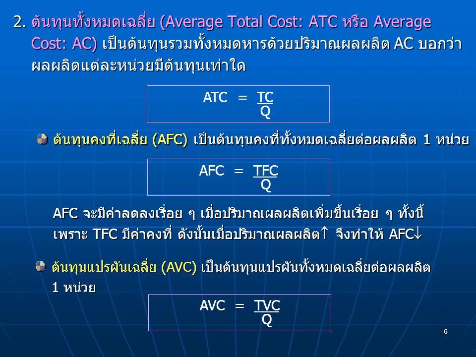 ต้นทุนทั้งหมดเฉลี่ย (Average Total Cost: ATC หรือ Average Cost: AC) เป็นต้นทุนรวมทั้งหมดหารด้วยปริมาณผลผลิต AC บอกว่าผลผลิตแต่ละหน่วยมีต้นทุนเท่าใด