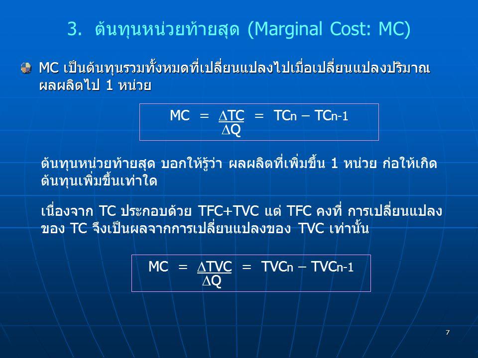 3. ต้นทุนหน่วยท้ายสุด (Marginal Cost: MC)