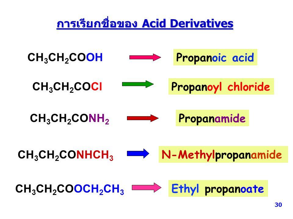 การเรียกชื่อของ Acid Derivatives