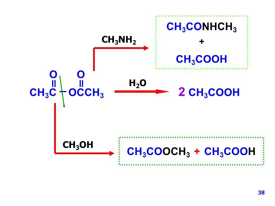 + CH3CONHCH3 CH3COOH O O CH3C OCCH3 2 CH3COOH CH3COOCH3 + CH3COOH