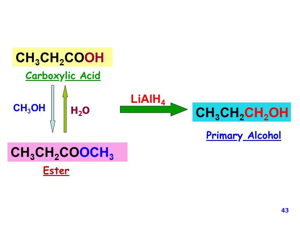 CH3CH2COOH CH3CH2CH2OH CH3CH2COOCH3 LiAlH4 Carboxylic Acid CH3OH H2O
