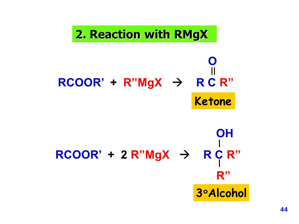 2. Reaction with RMgX O RCOOR' + R MgX  R C R Ketone OH