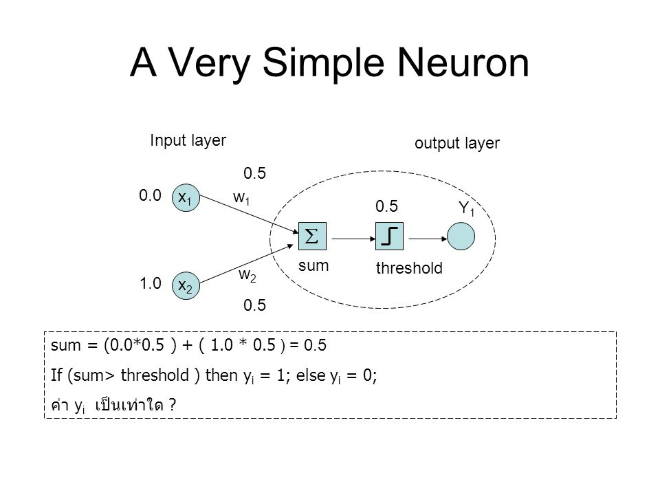 A Very Simple Neuron å x1 x2 Input layer output layer w1 w2 Y1 sum