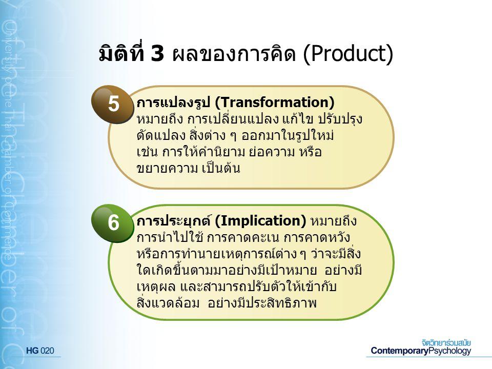 มิติที่ 3 ผลของการคิด (Product)