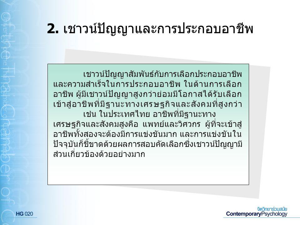 2. เชาวน์ปัญญาและการประกอบอาชีพ