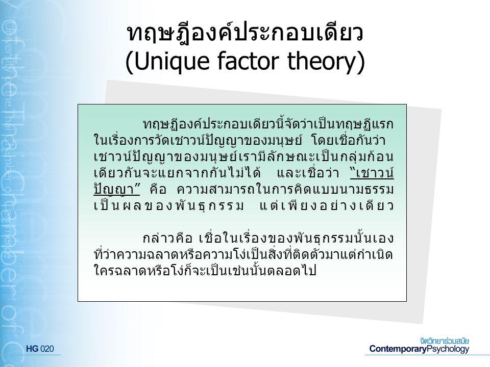 ทฤษฎีองค์ประกอบเดียว (Unique factor theory)