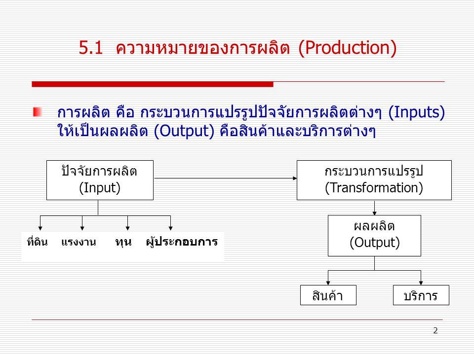5.1 ความหมายของการผลิต (Production)