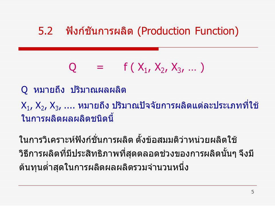 5.2 ฟังก์ชันการผลิต (Production Function)