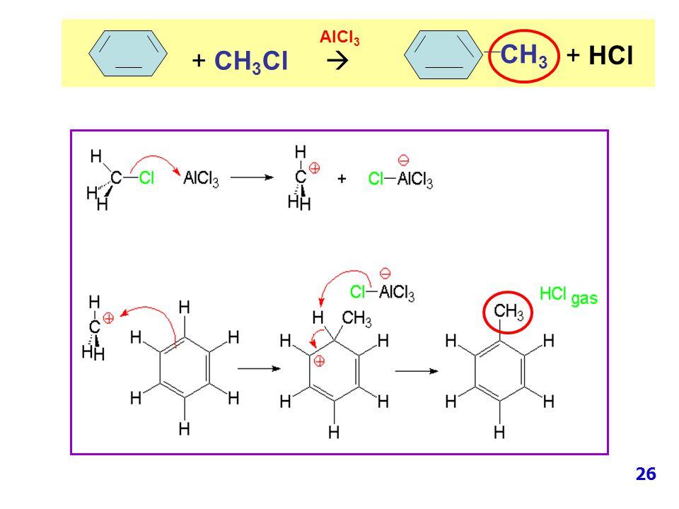 AlCl3 CH3 + HCl + CH3Cl  26