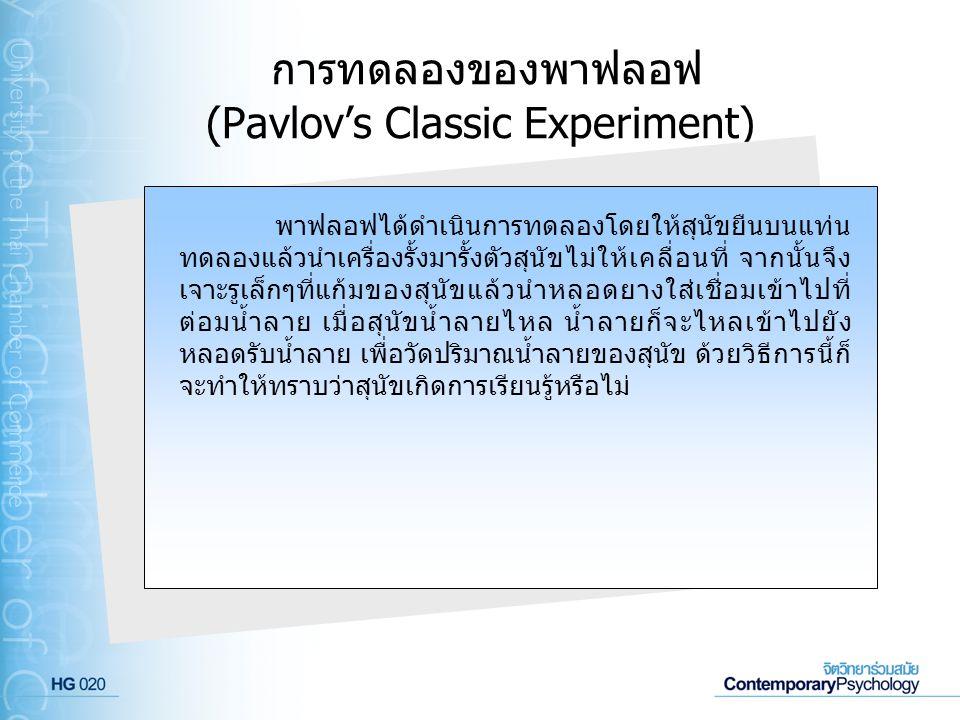 การทดลองของพาฟลอฟ (Pavlov's Classic Experiment)