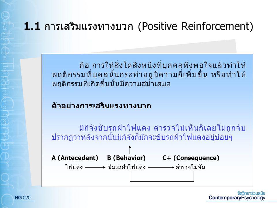 1.1 การเสริมแรงทางบวก (Positive Reinforcement)