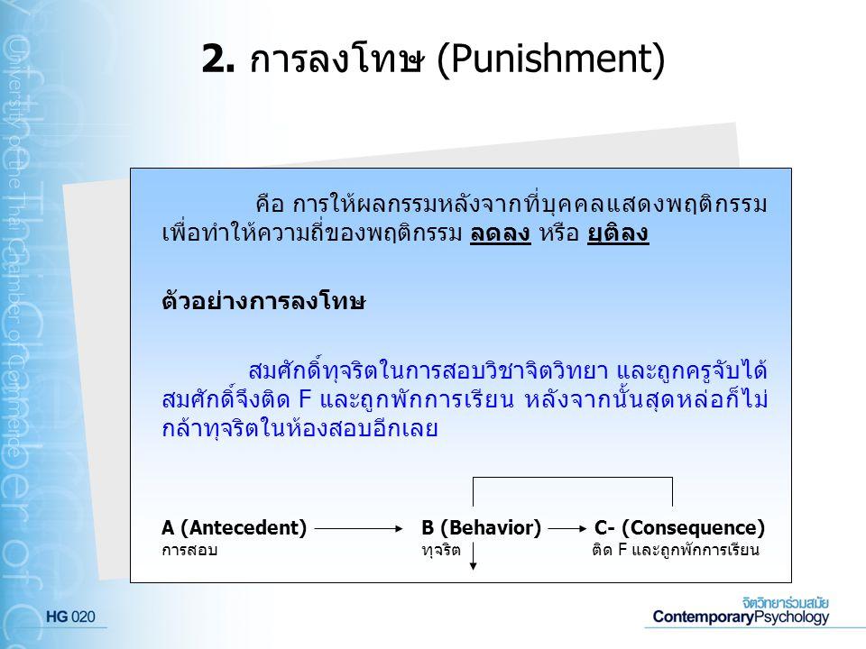 2. การลงโทษ (Punishment)