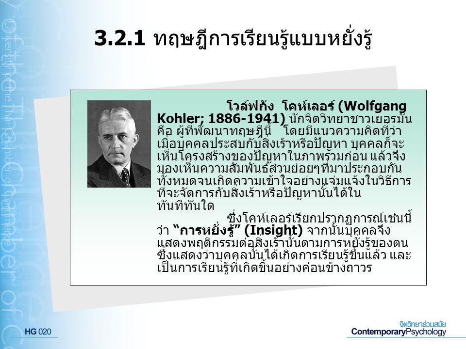 3.2.1 ทฤษฎีการเรียนรู้แบบหยั่งรู้