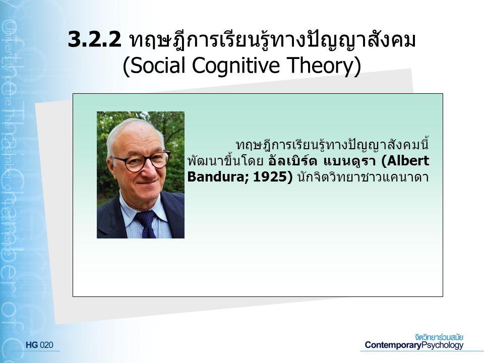 3.2.2 ทฤษฎีการเรียนรู้ทางปัญญาสังคม (Social Cognitive Theory)