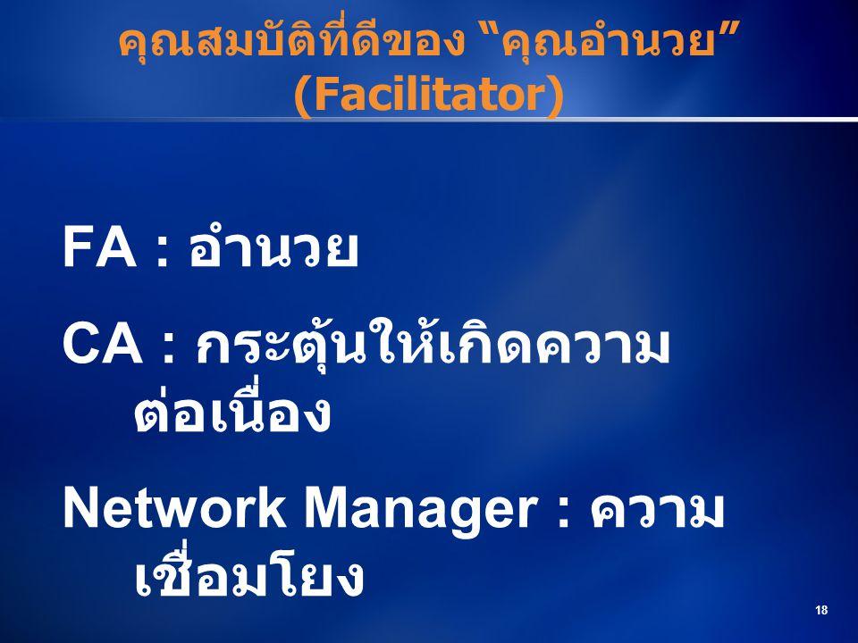 คุณสมบัติที่ดีของ คุณอำนวย (Facilitator)