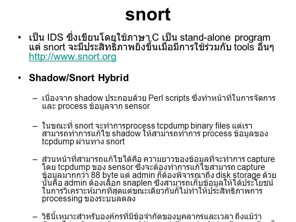 snort เป็น IDS ซึ่งเขียนโดยใช้ภาษา C เป็น stand-alone program แต่ snort จะมีประสิทธิ์ภาพยิ่งขึ้นเมื่อมีการใช้ร่วมกับ tools อื่นๆ http://www.snort.org.