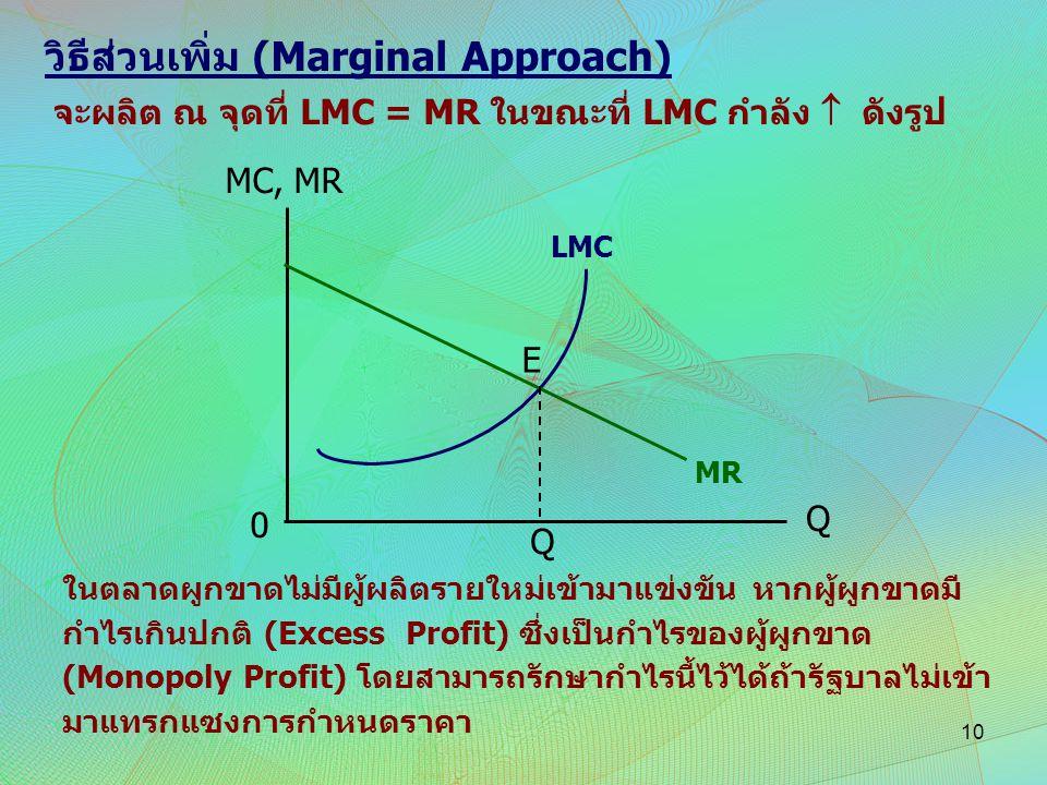 วิธีส่วนเพิ่ม (Marginal Approach)