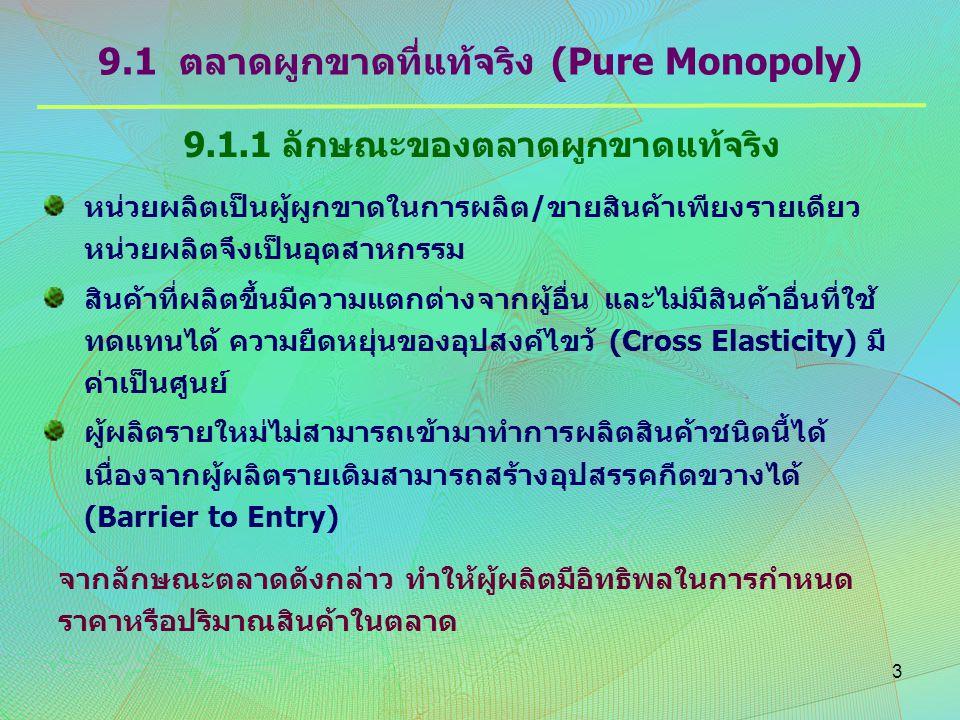9.1 ตลาดผูกขาดที่แท้จริง (Pure Monopoly)