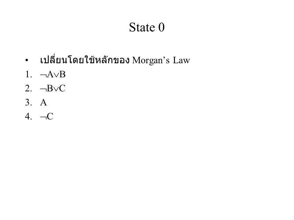 State 0 เปลี่ยนโดยใช้หลักของ Morgan's Law AB BC A C