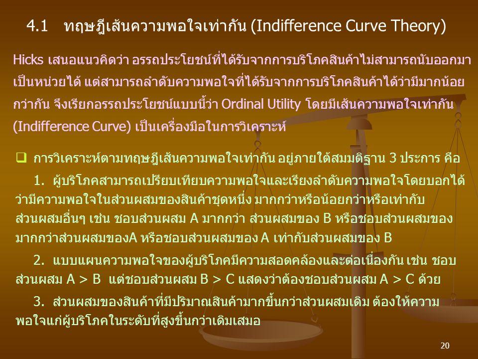 4.1 ทฤษฎีเส้นความพอใจเท่ากัน (Indifference Curve Theory)