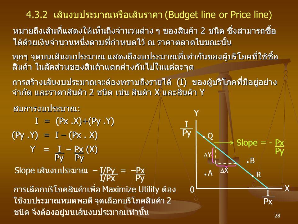 4.3.2 เส้นงบประมาณหรือเส้นราคา (Budget line or Price line)