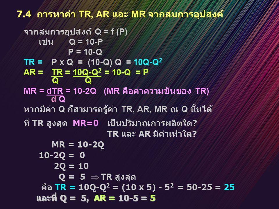 7.4 การหาค่า TR, AR และ MR จากสมการอุปสงค์