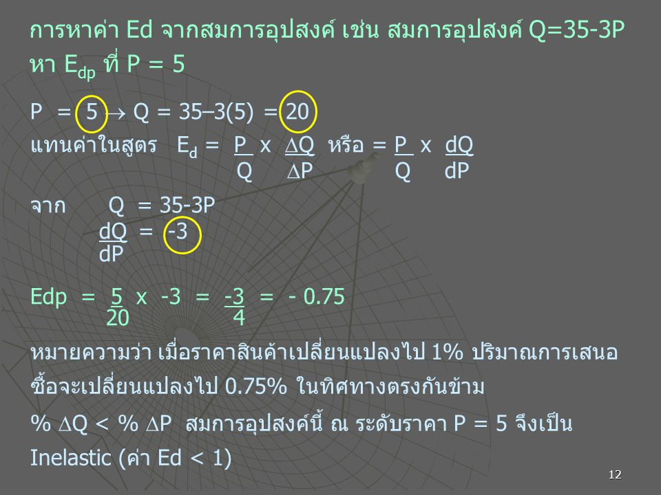 การหาค่า Ed จากสมการอุปสงค์ เช่น สมการอุปสงค์ Q=35-3P หา Edp ที่ P = 5