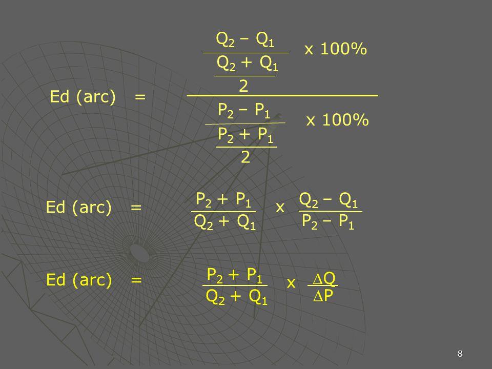 Q2 – Q1 x 100% Q2 + Q1. 2. Ed (arc) = P2 – P1. x 100% P2 + P1. 2. P2 + P1. Q2 – Q1. Ed (arc) =