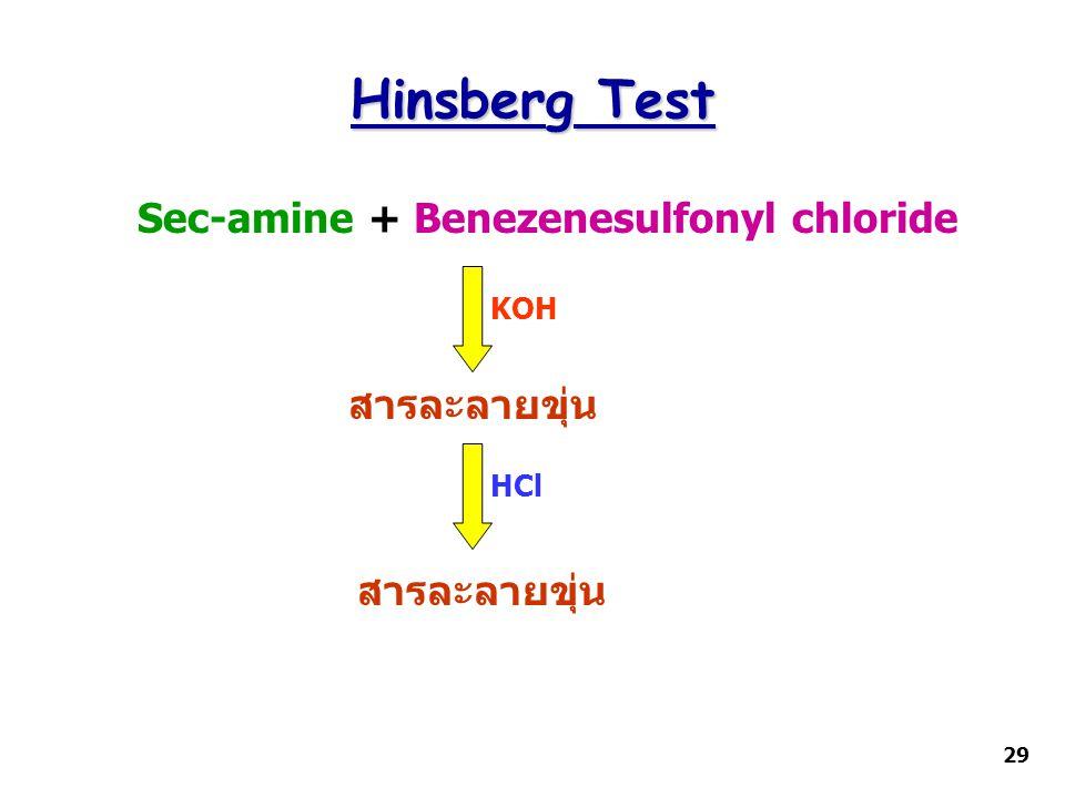 Hinsberg Test Sec-amine + Benezenesulfonyl chloride สารละลายขุ่น