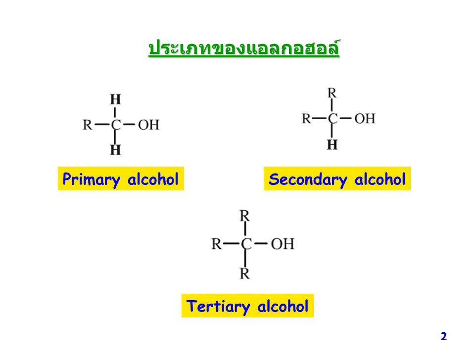 ประเภทของแอลกอฮอล์ Primary alcohol Secondary alcohol Tertiary alcohol