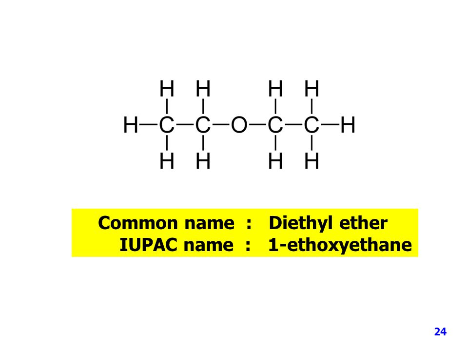 Common name : Diethyl ether IUPAC name : 1-ethoxyethane