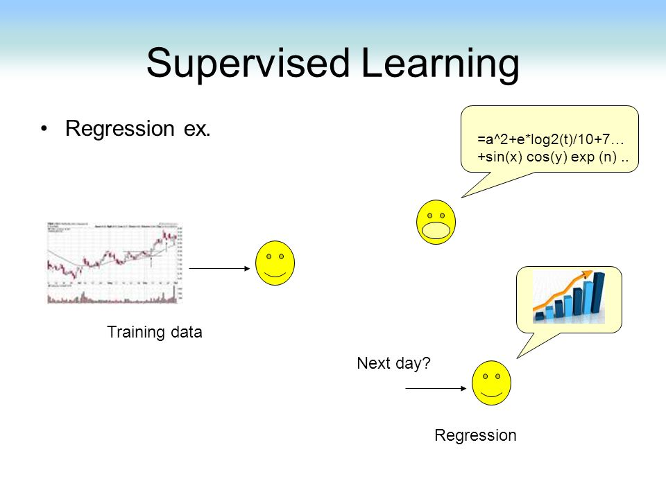 Supervised Learning Regression ex. Training data Next day Regression
