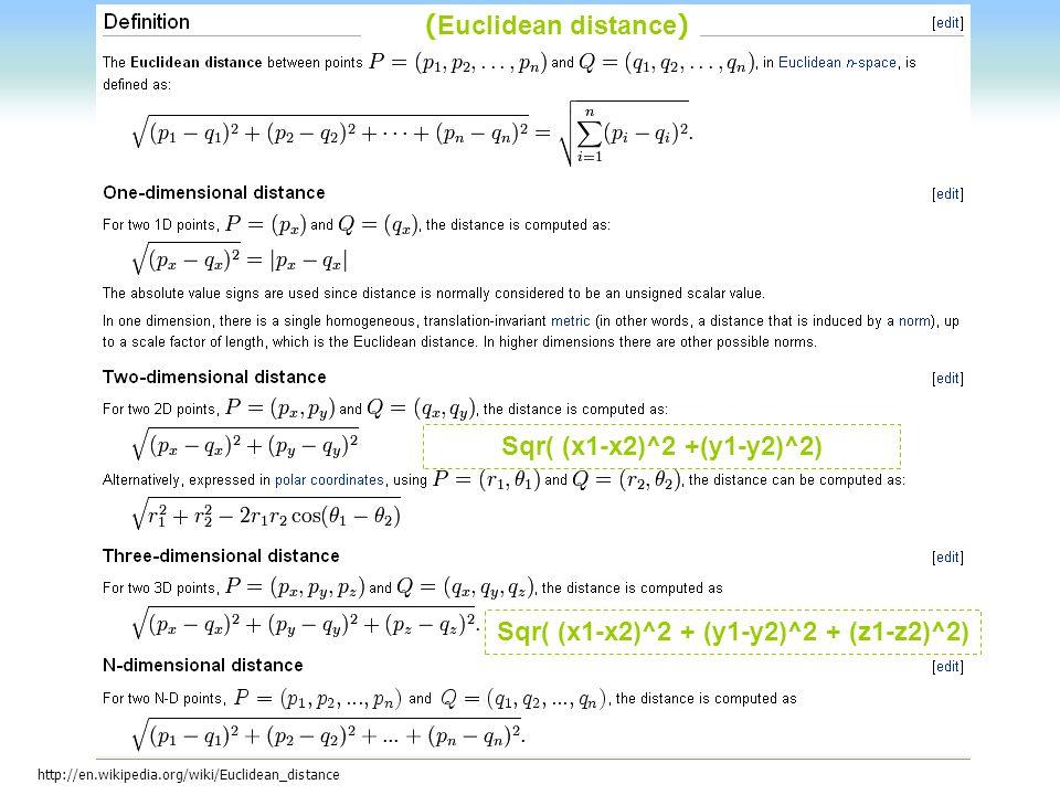 Sqr( (x1-x2)^2 + (y1-y2)^2 + (z1-z2)^2)