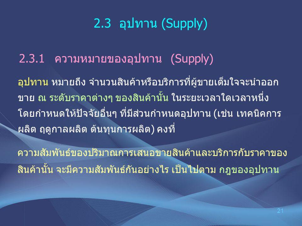 2.3 อุปทาน (Supply) 2.3.1 ความหมายของอุปทาน (Supply)