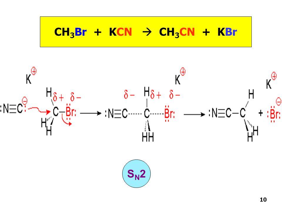 CH3Br + KCN  CH3CN + KBr SN2 10