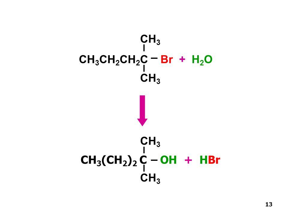 CH3 CH3(CH2)2 C OH + HBr CH3CH2CH2C Br + H2O CH3 CH3 CH3 13