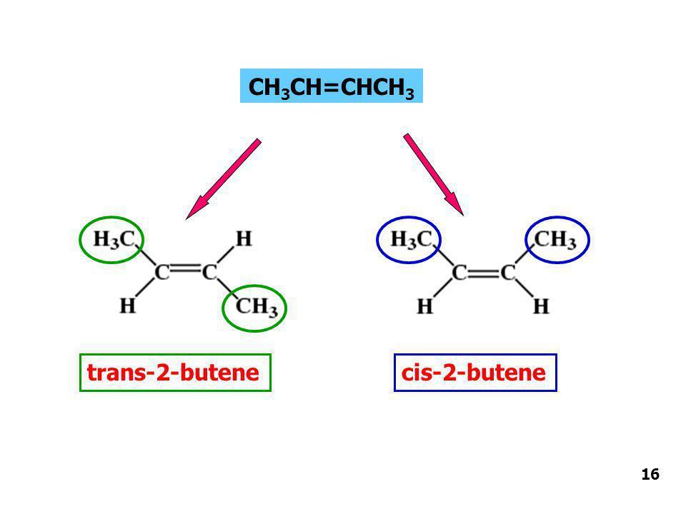 CH3CH=CHCH3 trans-2-butene cis-2-butene 16