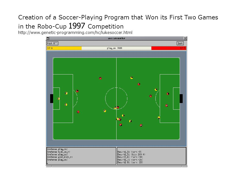 Creation of a Soccer-Playing Program that Won its First Two Games