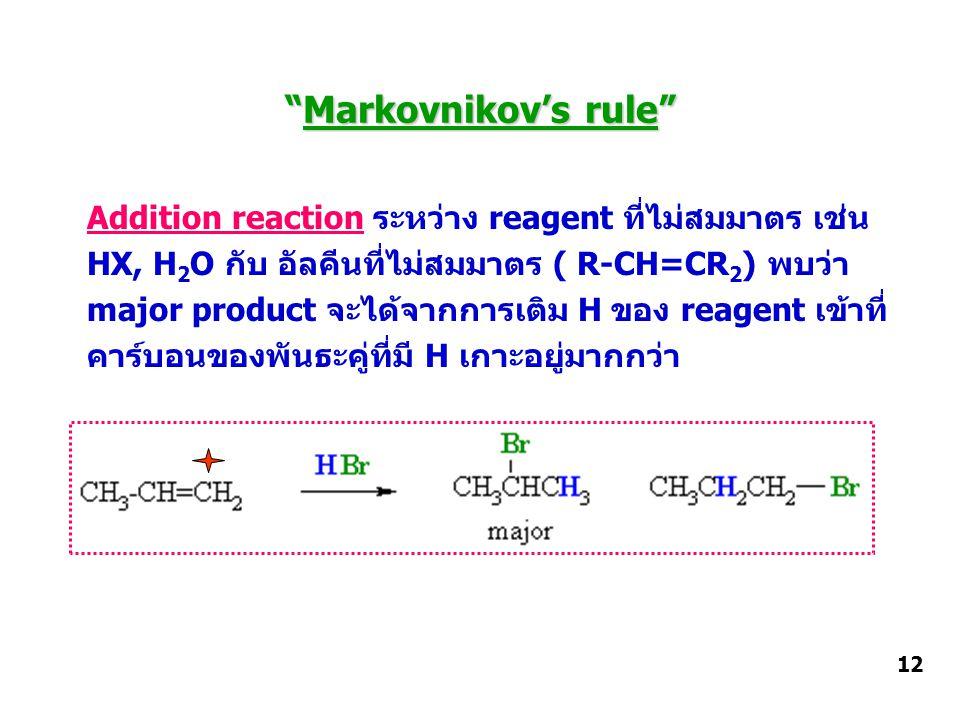 Markovnikov's rule Addition reaction ระหว่าง reagent ที่ไม่สมมาตร เช่น. HX, H2O กับ อัลคีนที่ไม่สมมาตร ( R-CH=CR2) พบว่า.