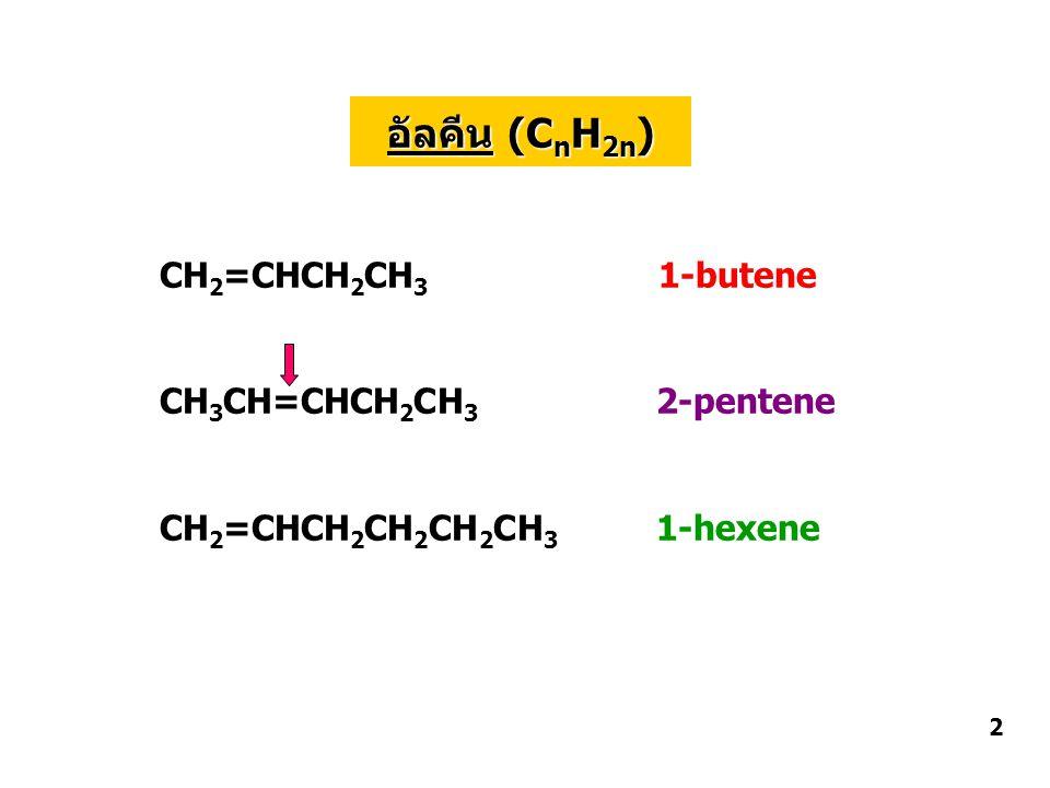 อัลคีน (CnH2n) CH2=CHCH2CH3 1-butene CH3CH=CHCH2CH3 2-pentene