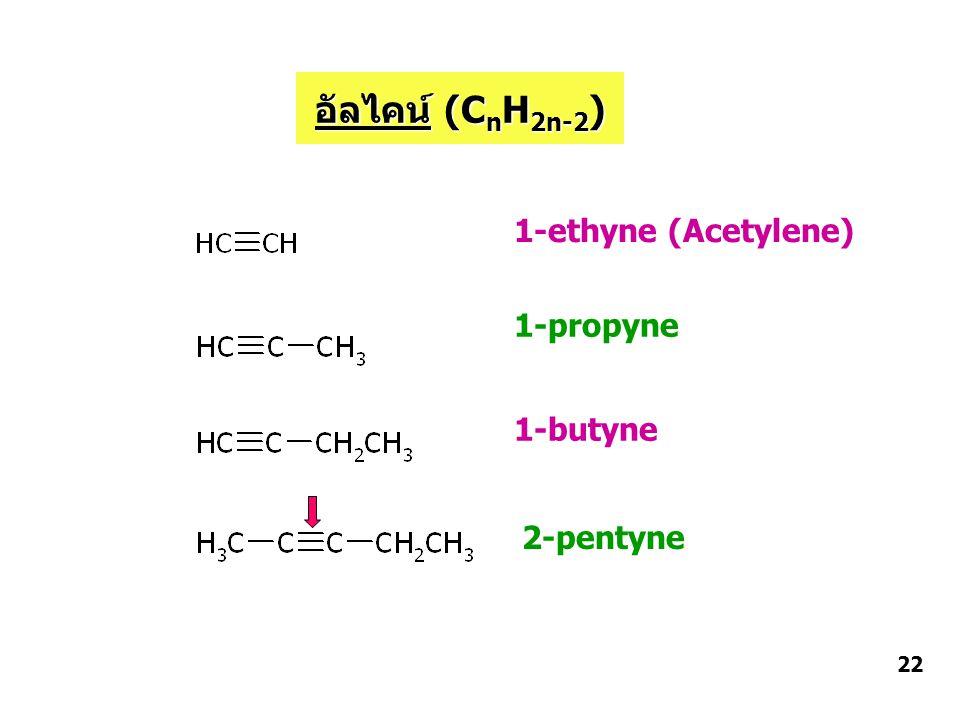 อัลไคน์ (CnH2n-2) 1-ethyne (Acetylene) 1-propyne 1-butyne 2-pentyne 22