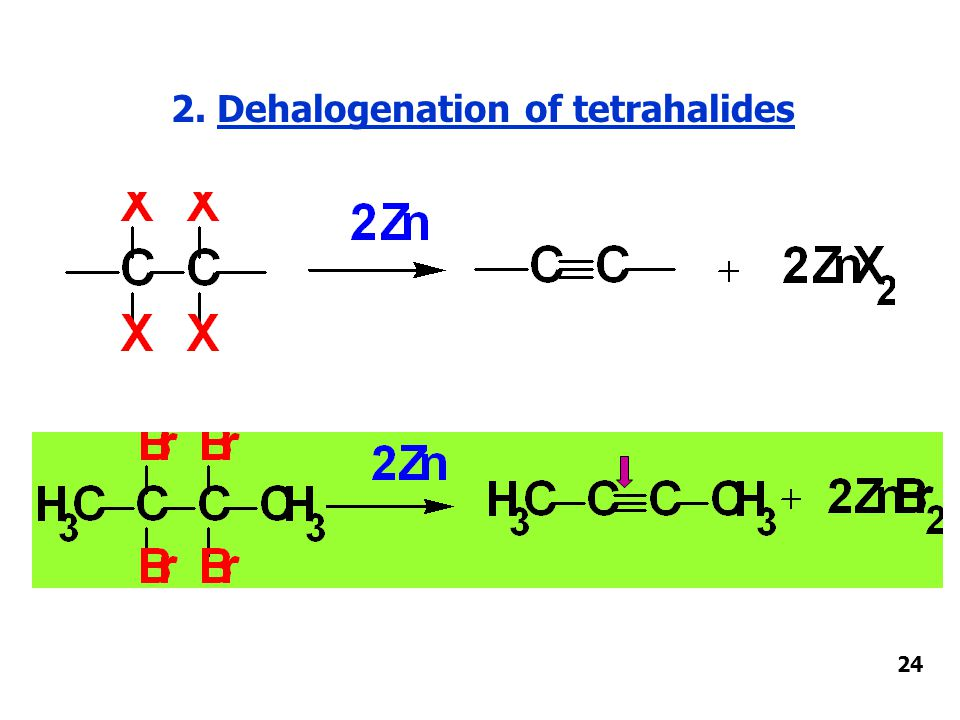 2. Dehalogenation of tetrahalides