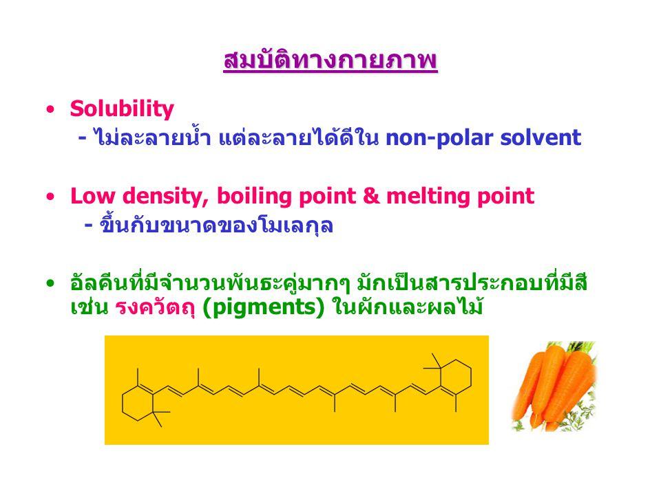 สมบัติทางกายภาพ Solubility