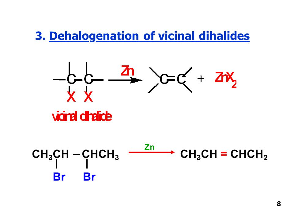 3. Dehalogenation of vicinal dihalides