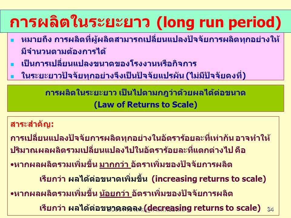 การผลิตในระยะยาว (long run period)