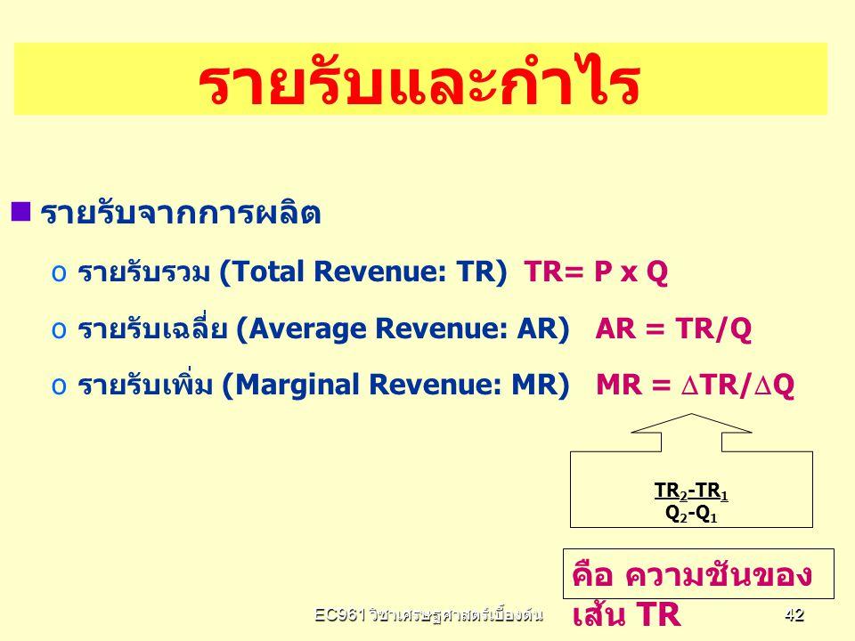 EC961 วิชาเศรษฐศาสตร์เบื้องต้น