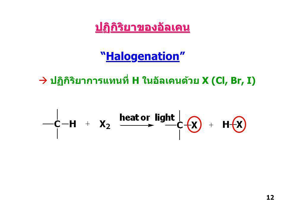  ปฏิกิริยาการแทนที่ H ในอัลเคนด้วย X (Cl, Br, I)
