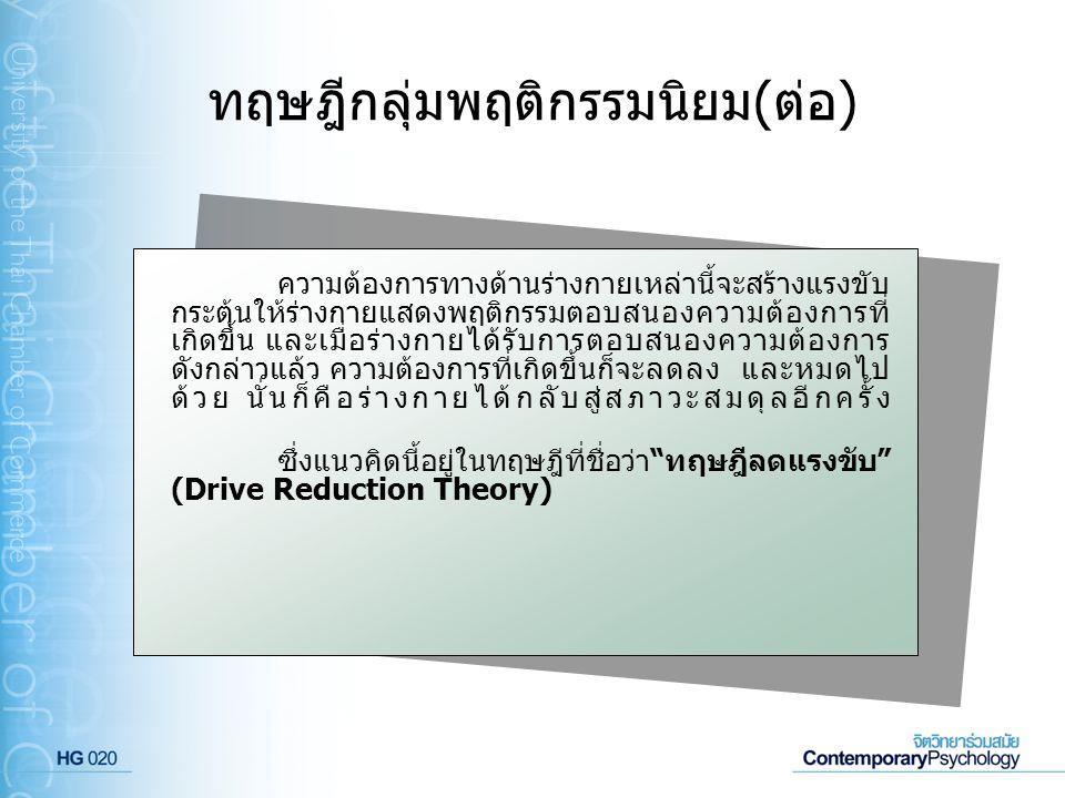 ทฤษฎีกลุ่มพฤติกรรมนิยม(ต่อ)